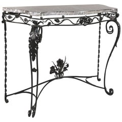 Antique Wrought Iron Console with Marble Top, circa 1920s