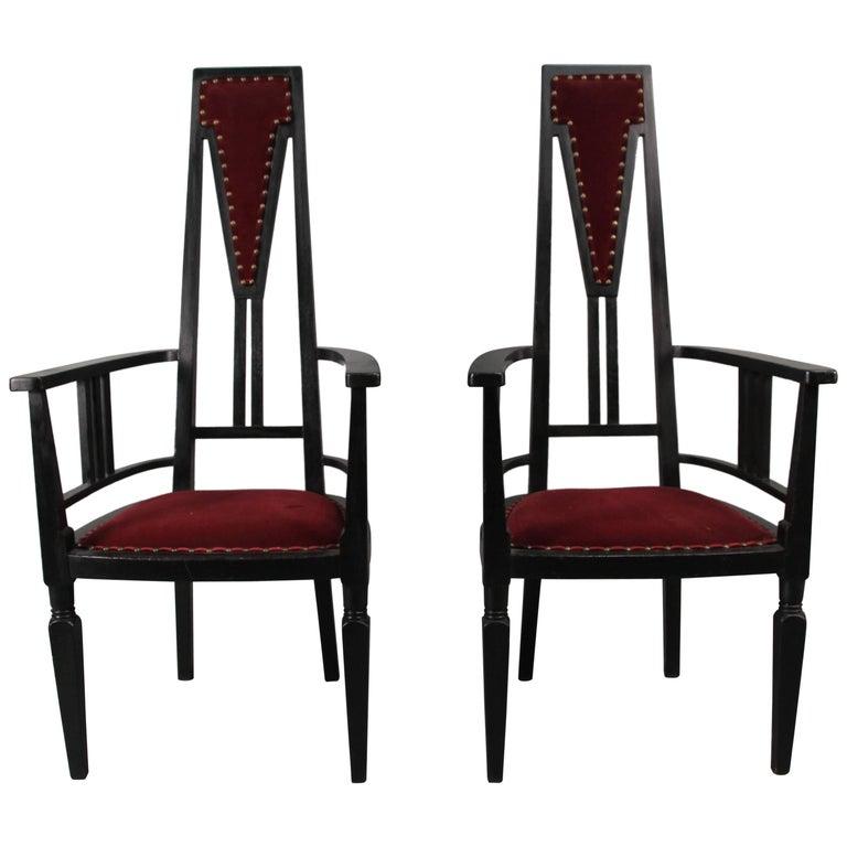 European Antique Pair of Turn of the Century Secessionist Chairs, circa 1910