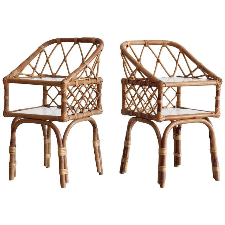 French Rattan End Tables 1