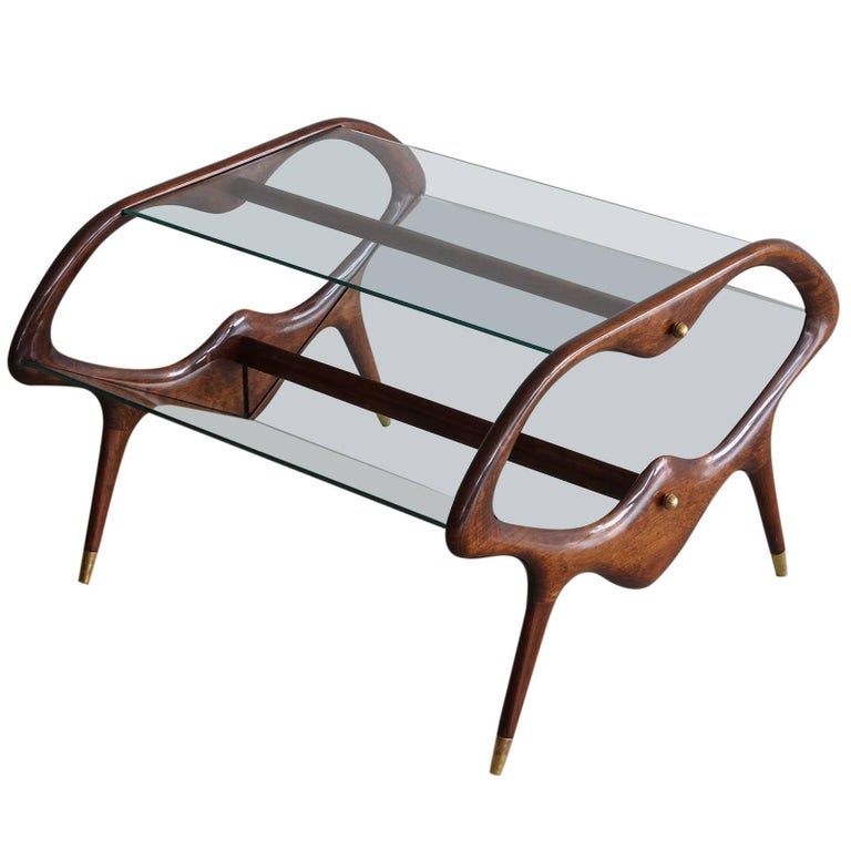 Italian Glass and Walnut Table and Magazine Stand 1