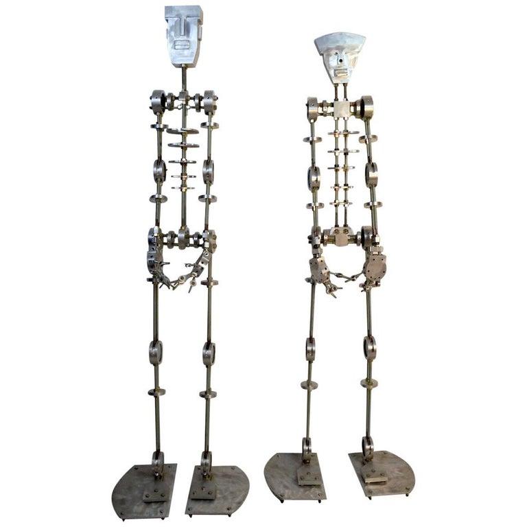 Artist Made Machine Skeleton Man and Woman