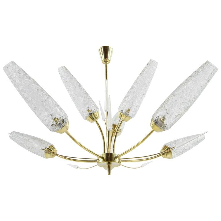 Murano Glass Shades Brass Chandelier