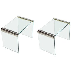 Leon Rosen for Pace Collection Chrome and Glass Waterfall End Tables