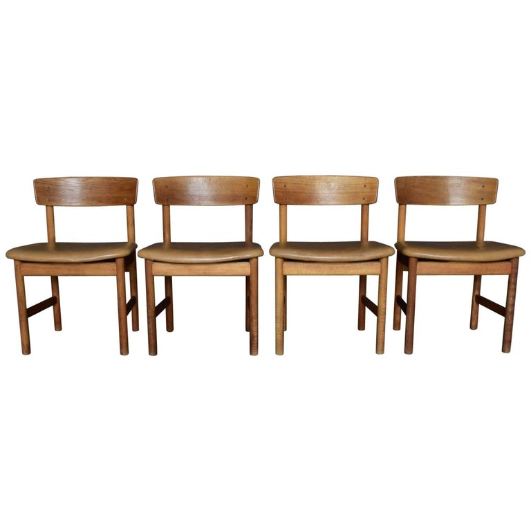 Set of Four Børge Mogensen Chairs, Produced by Fredericia Furniture