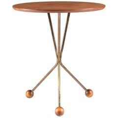 Small Side Table in Brass and Teak, Sweden, 1950s