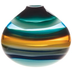 Aqua Low Oval Vase by Siemon and Salazar