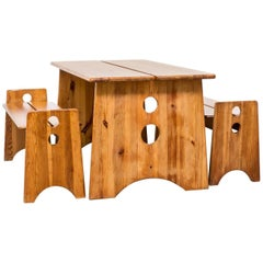 Gilbert Marklund Pine Table and Benches for Furusnickarn AB, Set of Three