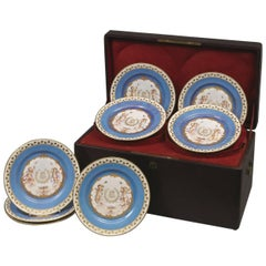 Set of Twelve Sèvres Azur Blue Plates in Their Original Leather Fitted Case