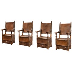 Late 16th Century Set of Four Lombard Armchairs