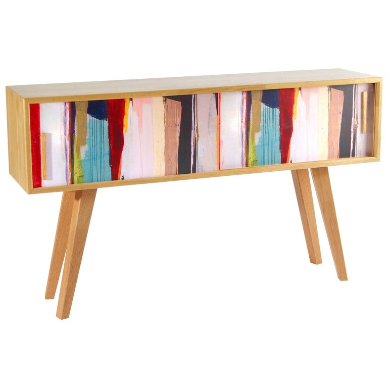 Contemporary Sideboard With Colorful Sliding Door in Solid Oak
