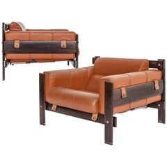 Percival Lafer 1970s Pair of Lounge Chairs in Jacaranda and Leather