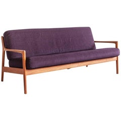 Folke Ohlsson 1960s sofa in Teak and Fabric produced in Sweden by Dux