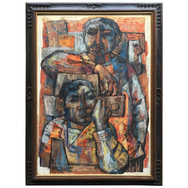 Jose Vela Zanetti Painting of Two Mexican Figures
