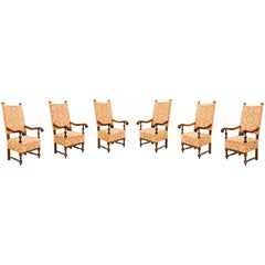 Rare Suite of Six Ceremony Armchairs from Genoese Region