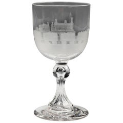 Late 19th Century Engraved Goblet with a Depiction of a Locomotive and Cartridge