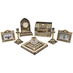 Asprey Boulle Tortoiseshell Brass Clock and Desk Set, 19th Century