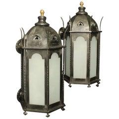 English 19th Century Gothic Bronze Antique Wall Lanterns