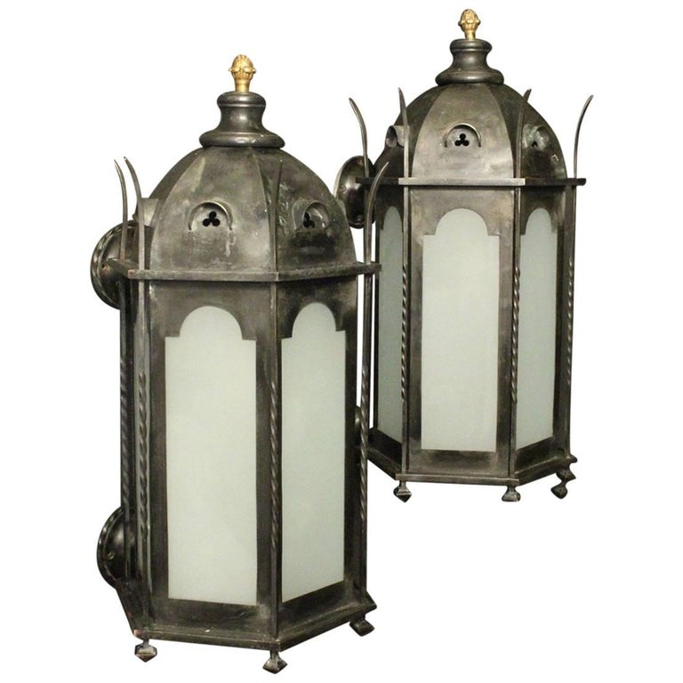 English 19th Century Gothic Bronze Antique Wall Lanterns