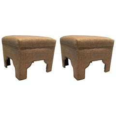 Sophisticated Custom Pair of Wheat Colored Linen and Cotton Ottomans