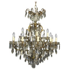 French 19th Century Sixteen-Light Antique Crystal Cage Chandelier