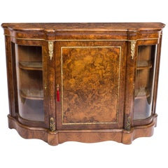 19th Century Victorian Burr Walnut Inlaid Ormolu-Mounted Credenza