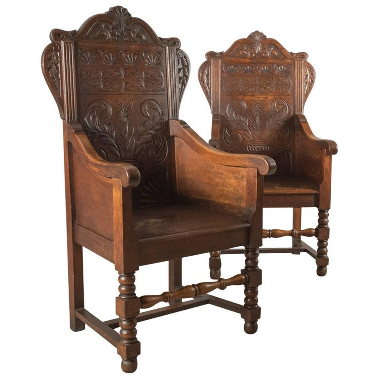 Antique Pair of Baronial Hall Chairs, English Oak Armchairs, circa 1900