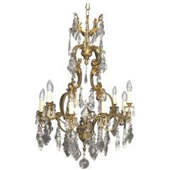 French Gilded Bronze and Crystal Twelve-Light Birdcage Antique Chandelier