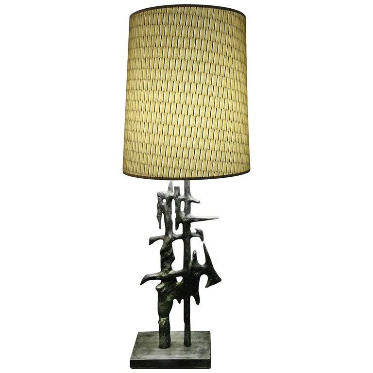 Arty Table Lamp with Hand-Carved Bronze Base For Sale
