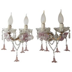 1920 French Lavender Purple Amethyst Murano Flowers Sconces