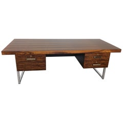 Midcentury Rosewood and Chrome Executive Desk by Gordon Russell