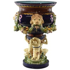 19th Century Minton Majolica Footed Jardinière, England, 1868