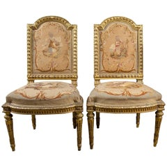 Pair of Louis XVI Neoclassic Style Side Chairs