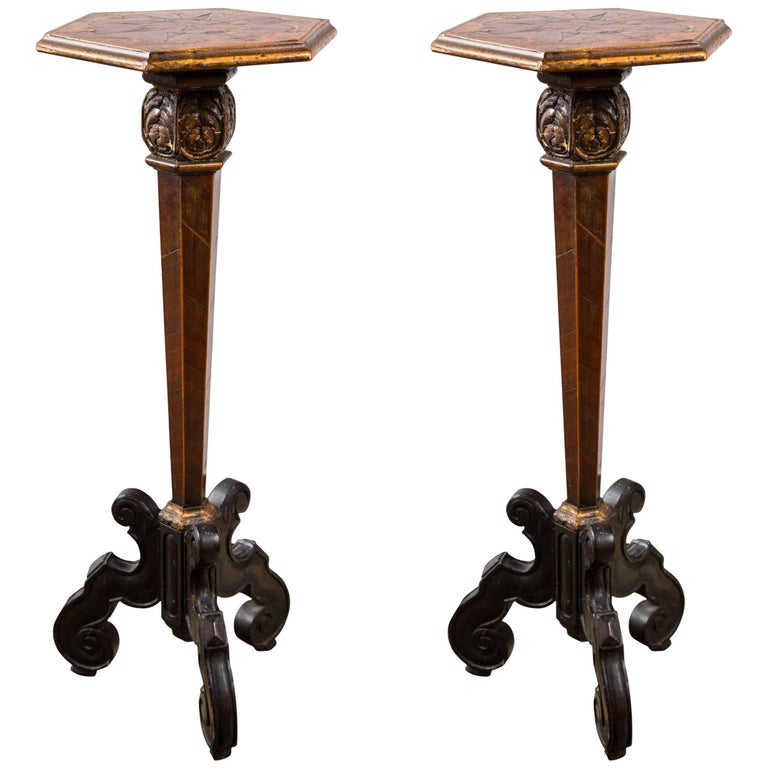 Pair of Late 17th Century Continental Candle Stands For Sale