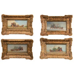 Set of Four Oil on Board Coaching Paintings, Signed Wm Rowland