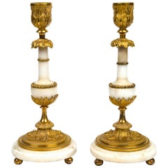 Pair of White Marble and Gilt Bronze, Late 18th Century Baltic Candlesticks