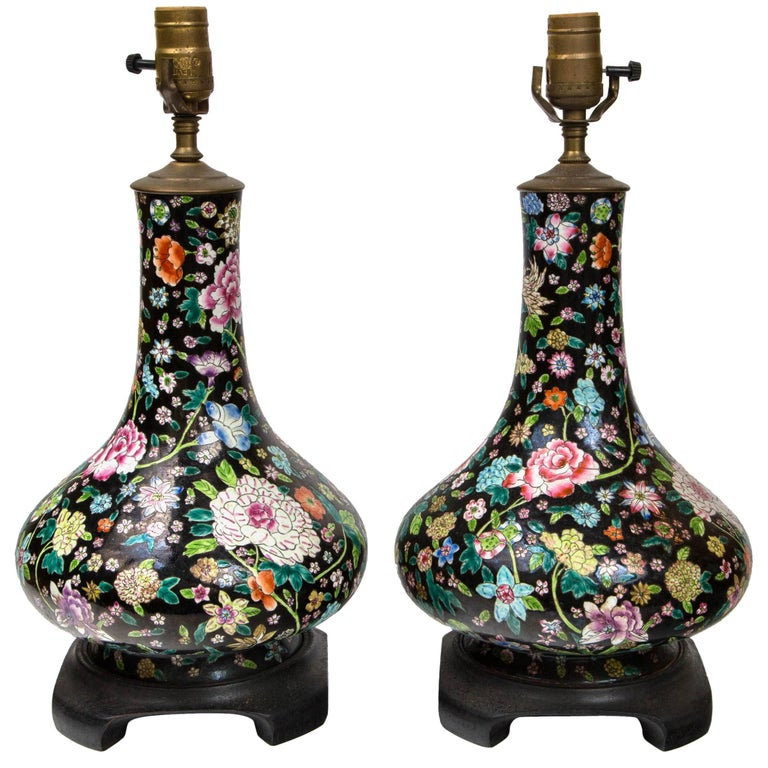 Pair of Chinese, 19th-20th Century Black Ground Porcelain Bottle Form Vases