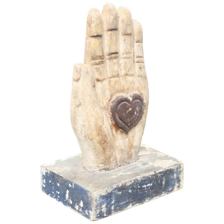 Folk Art Wood Hand with Heart