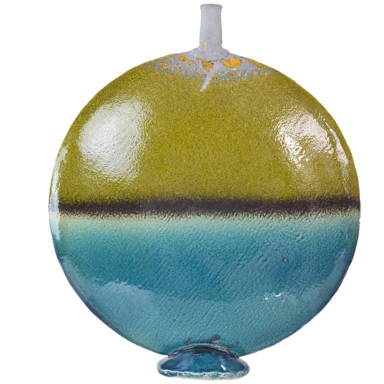 Italian Gold Leaf Ceramic Vase, 1970's