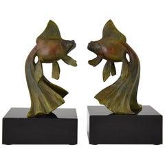 Art Deco Bronze Goldfish Bookends by Georges Garreau, 1930