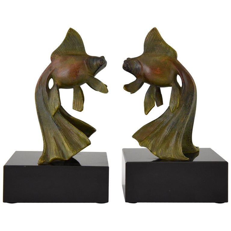 Art Deco Bronze Goldfish Bookends by Georges Garreau, 1930