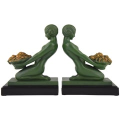 French Art Deco Bookends Kneeling Nudes with Baskets Max Le Verrier, 1930