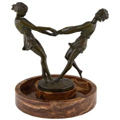 Art Deco Centrepiece Bronze Sculpture Dancing Girls Andre Gilbert, 1925 France