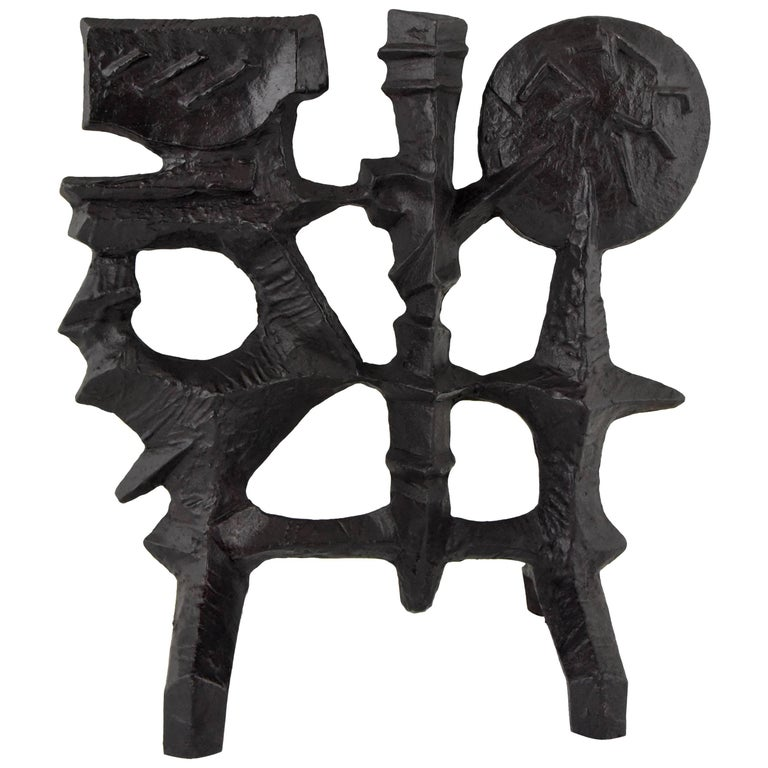 Mid-Century Modern Abstract Iron Sculpture by Olle Hermansson, 1960