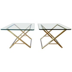 Pair of Brass and Chrome X Frame Tables by Peter Ghyczy