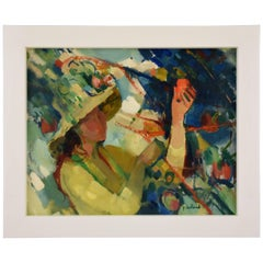 Painting of a Woman with Hat in the Garden by Paul Collomb France