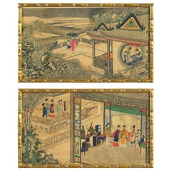 Pair of Ink and Watercolor Landscapes Depicting Scenes of Court Life