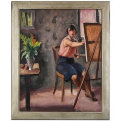 Art Deco Painting Woman Painter in an Interior by Picard Le Doux, 1930 France