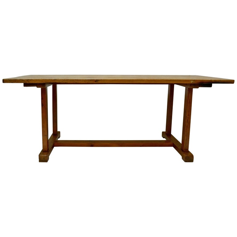 Pine Stretcher Base Farmhouse Trestle Table For Sale at 1stdibs