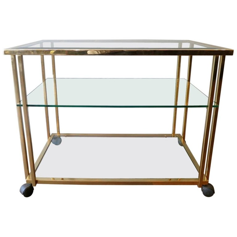 Gold Plated Brass Bar Cart Or Drinks Trolly For Sale At