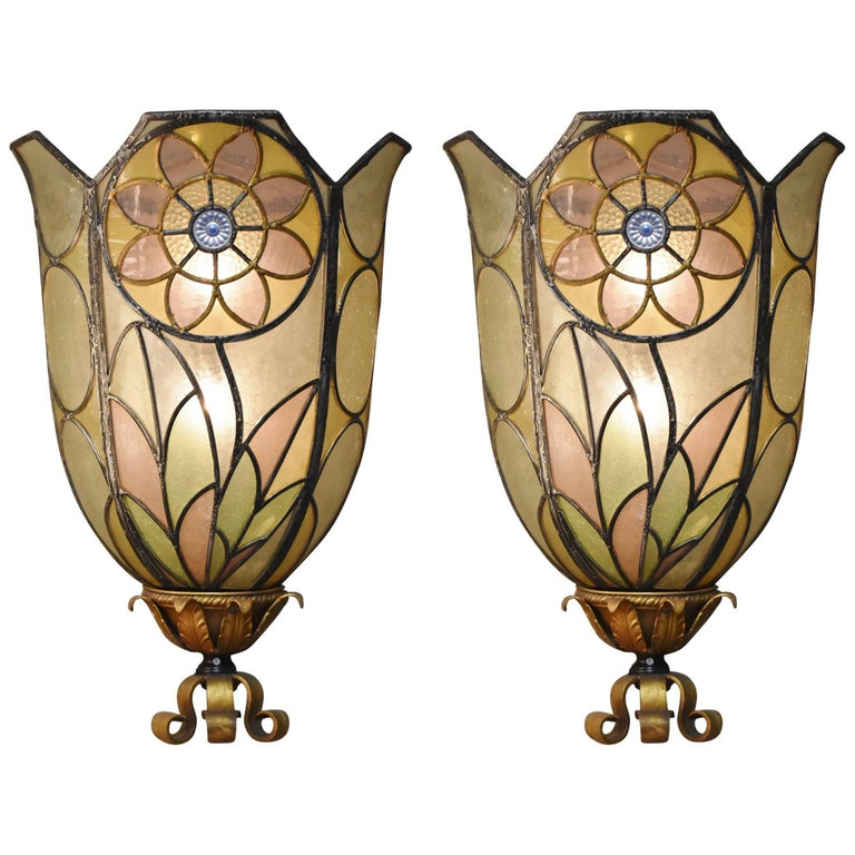 Pair of Art Deco Bent Stained Glass Theatre Wall Sconces Floral Design, 1920s